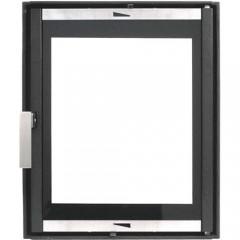 Каминная дверца чугунная со стеклом, герметичная НТТ 626 ЧЕРНАЯ