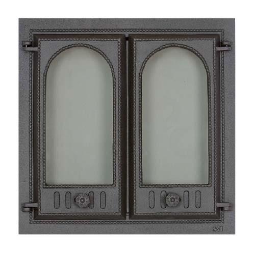 SVT 400 Дверка каминная, чугунная, 2-x створчатая, без экрана 500х500