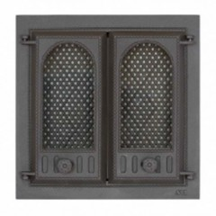 SVT 402 Дверка каминная, чугунная, 2-x створчатая, c экраном