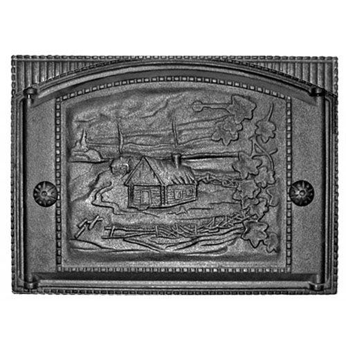 Дверка каминная топочная ДТК-2 «Домик в деревне»