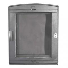 Каминная дверца чугунная со стеклом НТТ 526 СЕРАЯ