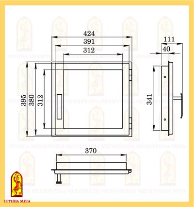 Дверь печная ДЕ 424-1С схема