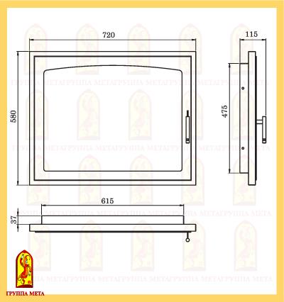 Дверь каминная ДК 720-1А схема