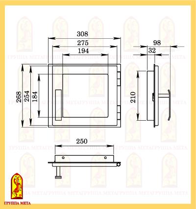 Дверь печная ДП 308-1С схема