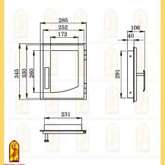 Дверь печная ДВ 285-1П схема