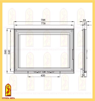 Дверь каминная КАМИЛЛА 800 (ДК800-1С) схема