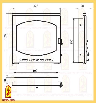 Дверь печная ЛИОН (ДП440-1Б) схема