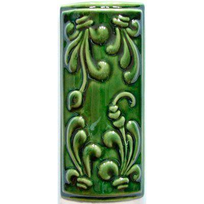 Элемент изразцовой плитки, уголок «Виньетки» зеленый