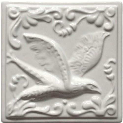 """Изразец """"Охота на птиц"""", белый"""
