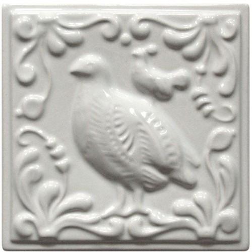 Изразец «Охота на птиц», белый