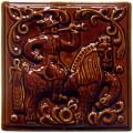 Изразец «Охота на птиц», коричневый №9