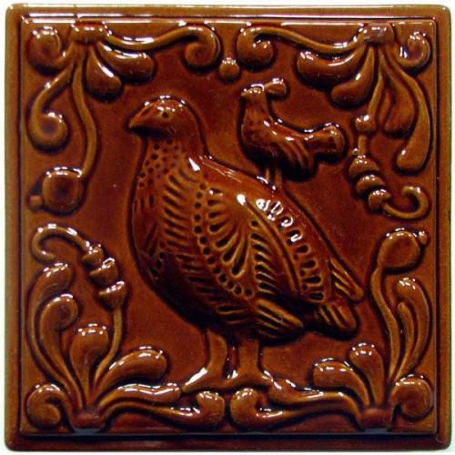 """Изразец """"Охота на птиц"""" коричневый №6"""