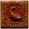 Изразец «Охота на птиц» коричневый №5