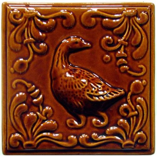 """Изразец """"Охота на птиц"""" коричневый №5"""