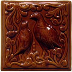 """Изразец """"Охота на птиц"""" коричневый №4"""