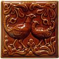 Изразец «Охота на птиц» коричневый №3