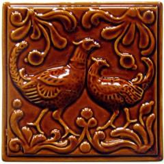 """Изразец """"Охота на птиц"""" коричневый №3"""