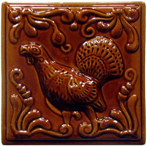 """Изразец """"Охота на птиц"""" коричневый №2"""