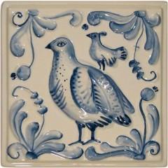 "Изразец ""Охота на птиц"" гжель №6"