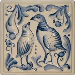 "Изразец ""Охота на птиц"" гжель №4"
