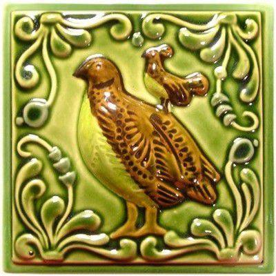 Изразец «Охота на птиц» ручная роспись №6