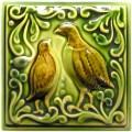 Изразец «Охота на птиц» ручная роспись №4