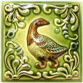 Изразец «Охота на птиц» ручная роспись №7