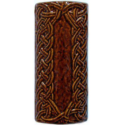 Элемент изразцовой плитки, уголок «Русь» коричневый