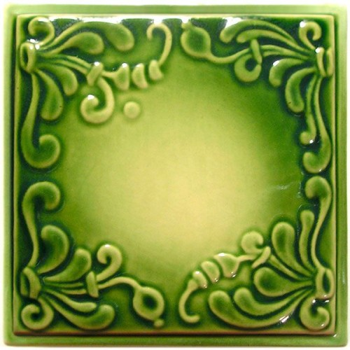 Изразец «Виньетка» зеленый