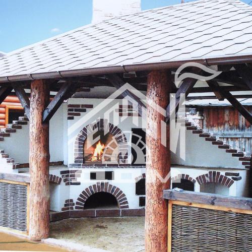 Деревянная беседка, комлевое бревно диаметром 350мм