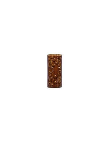Элемент изразцовой плитки, уголок «Виньетки» коричневый