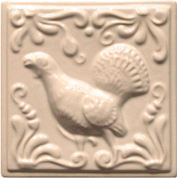 Изразец «Охота на птиц» слоновая кость №2
