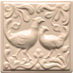 """Изразец """"Охота на птиц"""" слоновая кость №3"""