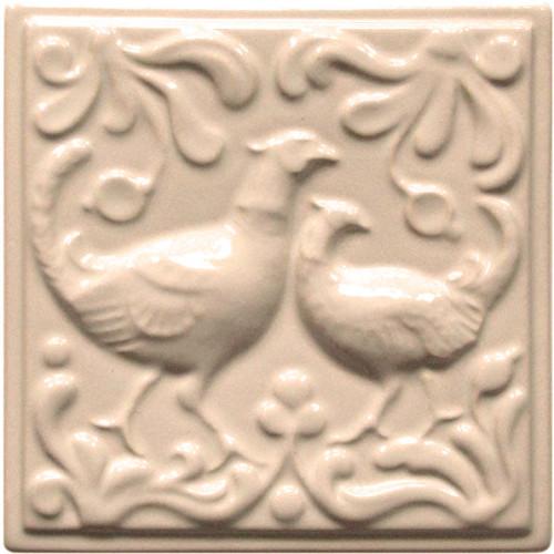 Изразец «Охота на птиц» слоновая кость №3