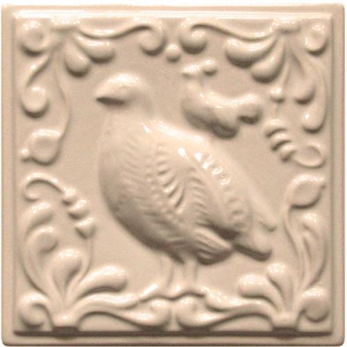 """Изразец """"Охота на птиц"""" слоновая кость №6"""