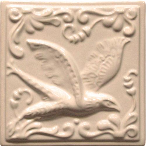 """Изразец """"Охота на птиц"""" слоновая кость №7"""