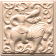 """Изразец """"Охота на птиц"""" слоновая кость №8"""