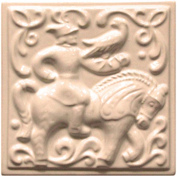 Изразец «Охота на птиц» слоновая кость №8