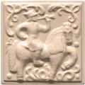"""Изразец """"Охота на птиц"""" слоновая кость №9"""