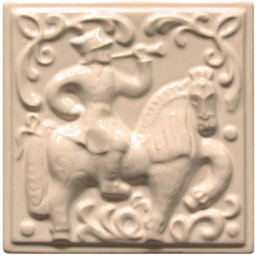 Изразец «Охота на птиц» слоновая кость №9