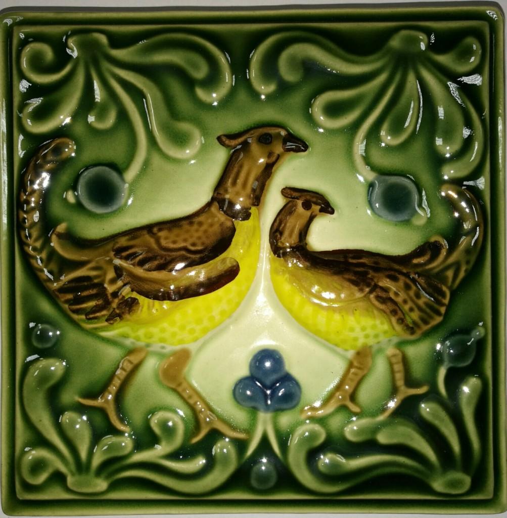 Изразец «Охота на птиц» ручная роспись №3
