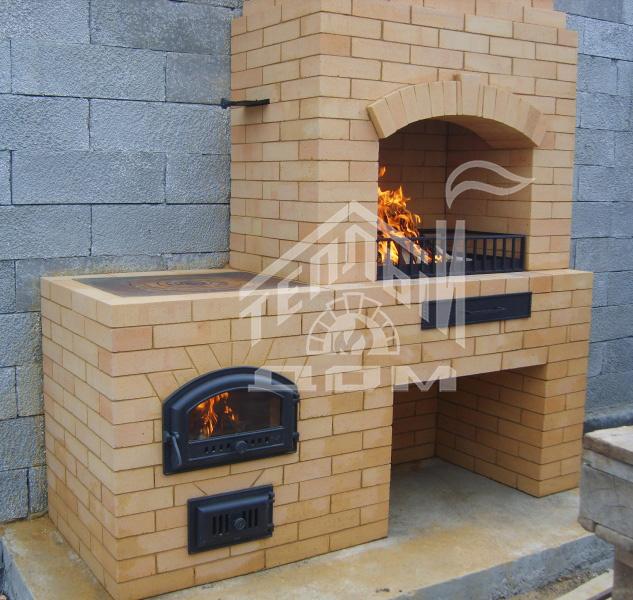 Печь барбекю с плитой