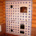 Банная печь, вид из комнаты отдыха