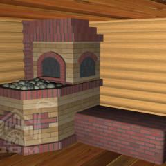 Банная печь, вид из парилки 1 с лежанкой