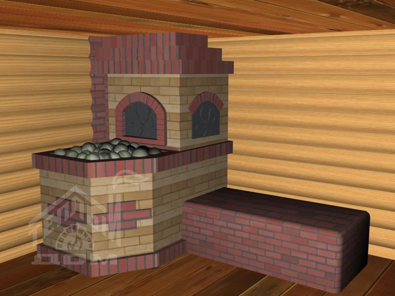 Банная печь с лежанкой (5)