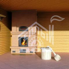 Банный печь-камин с духовкой