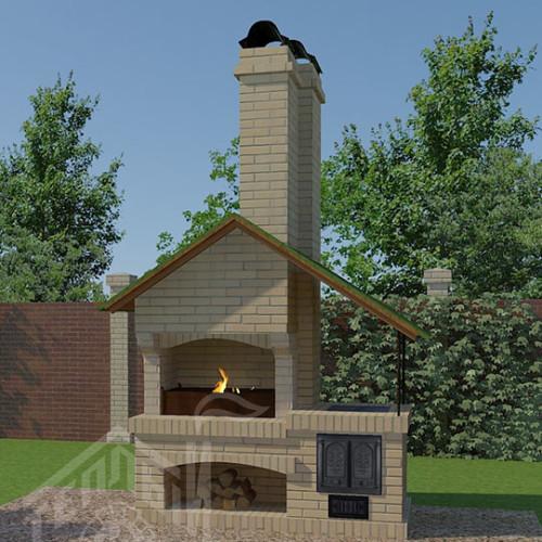Барбекю с плитой и крышей-восстановлено