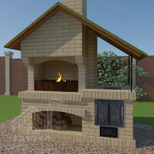 Барбекю с плитой и крышей 1-восстановлено