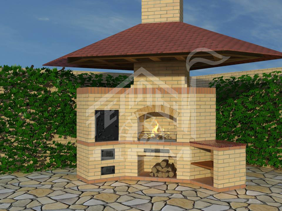 Барбекю №10 угловое с коптильней и разделочным столом с навесом в виде крыши