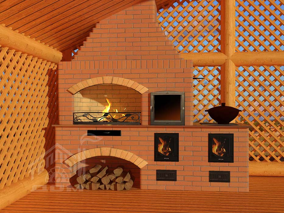 Барбекю №17 с коптильней и плитой